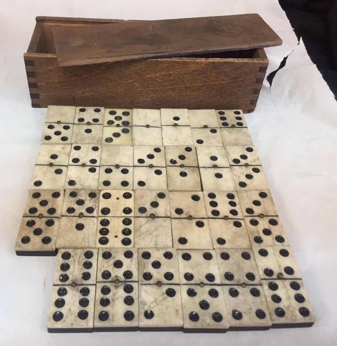 Antique CA@ 1880 Ebony and Bone Dominoes 27 Pieces Brass Pins 3 Pin W/ Wood Box