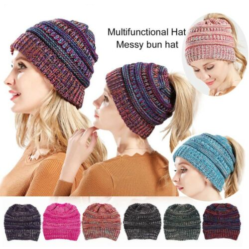 Women BeanieTail Messy Soft Stretch Winter Warm Pony Tail Beanie Hat Knit Cap CA