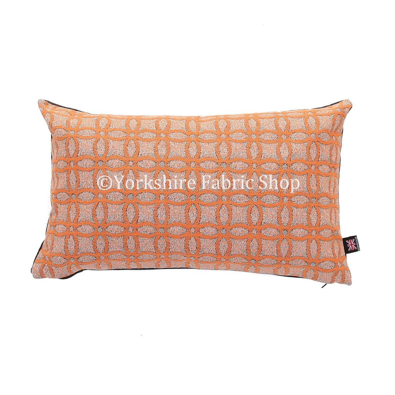 Nouveau tissé doux en texturé tissu texturé en gris orange médaillon geometriques coussins dd68cd