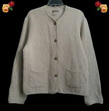 The Territory Ahead Linen blend Jacket Coat Button Front Oatmeal Waffle Weave M