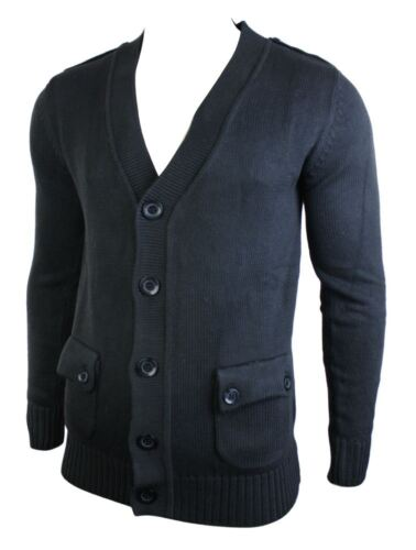 Mens Cardigan Knit Button Jumper Top V Neck Grey Black Charcoal Pocket