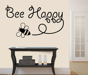 Bee Happy Design - Wall Art Vinyl Stickers Inspirational Be Transfer ...