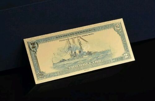 """/<☆/>GEM 1918 /""""GOLD/"""" $2 DOLLAR Rep.*Banknote~STUNNING TOUCHABLE COLOR DETAIL"""