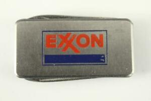 Vintage Gas & Oil Advertising Metal EXXON Logo Pocket Knife Clip File