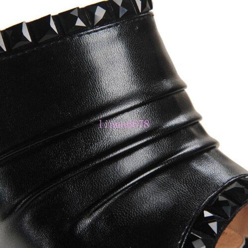 Details about  /Womens Sandals Platform Wedge Heel Pleasted Rhinestones Mule Slides Slipper 4-10