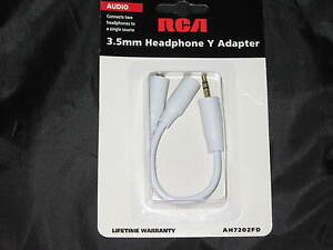 RCA-3-5mm-Headphone-Y-Adapter-Earbuds-Music-iPod-DVD-Audio-Jack-White-NEW