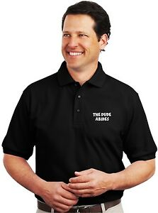 8a0ef70e45d Image is loading The-Dude-Abides-Embroidered-Black-Polo-Sport-Shirt-