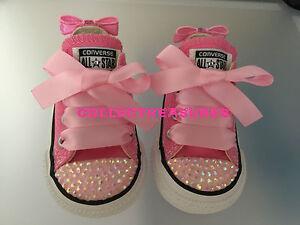 8 6 Converse Pink 5 4 Personalizzato Infant 10 Bnib 9 Diamante Uk Bling 2 Crystal 3 7 Tx6W1q4