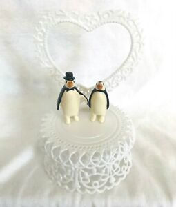 Penguin-Wedding-Cake-Topper-5-034-Tall