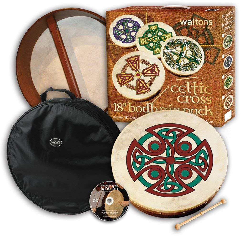 Waltons 18  Carew Cross Bodhrán Pack Gift Set 10AWAL-P2506