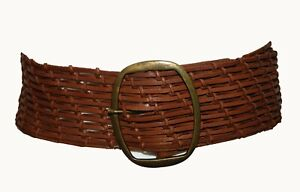Brown Genuine Leather Women's Wide Waist Belt Brass Buckle Size Medium/Large
