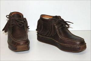 RALPH-LAUREN-Boots-a-Franges-Cuir-Graine-Marron-Fonce-T-6C-36-TTBE