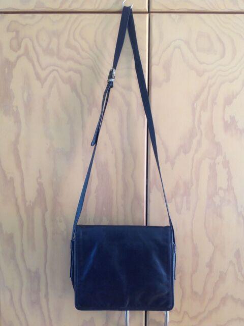 Joan Weisz Black Soft Leather Flapover Crossbody Bag