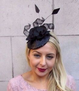 Image is loading Black-Orchid-Flower-Feather-Sequin -Fascinator-Races-Funeral- b0788f0d60e