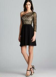 e766a2c265ac KENSIE $118 NEW Sexy Black Chiffon One Shoulder Foiled Lace Evening ...