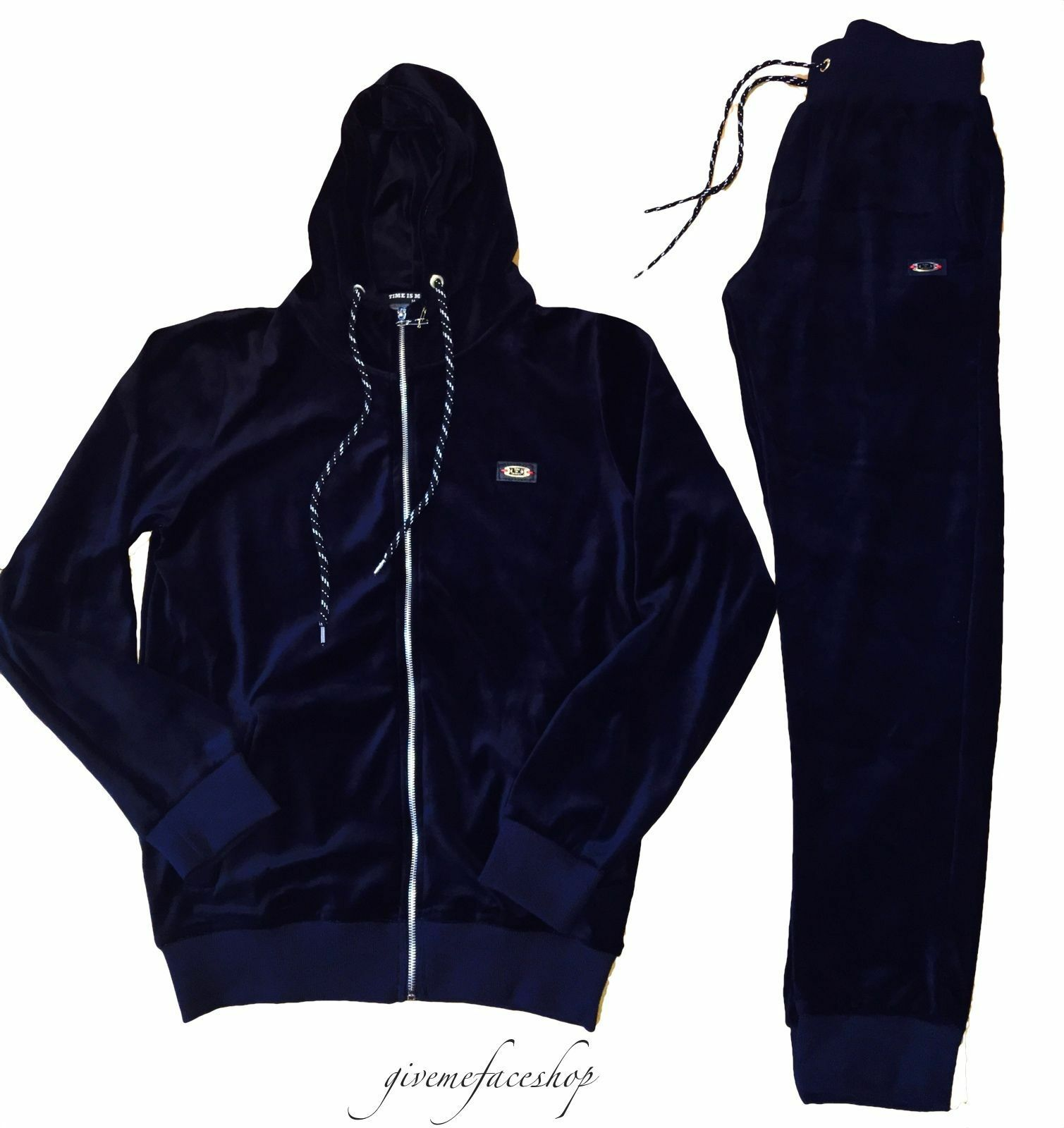 Time Is Money Velluto Jogging Set, Star Hip Hop Tuta Tuta Tuta da Uomo Slim Navy Blu 31189e