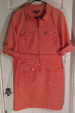 NEW Sharagano Coral Orange Military Belted Shirt Dress Size 14