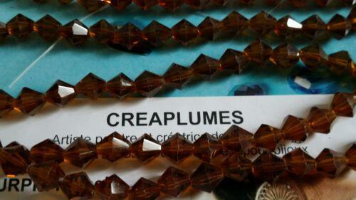 Perles toupies en verre  6mm caramel  1 chapelet de 55 perles
