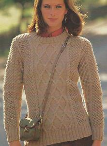 Ladies Aran Sweater Knitting Pattern with Saddle Yoke 32 ...