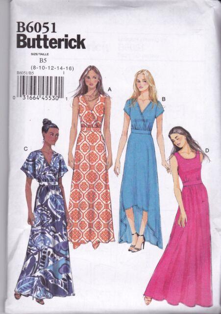 Butterick USA Sewing Pattern B 6051 B5 Ladies Dress Clothes Boho ...