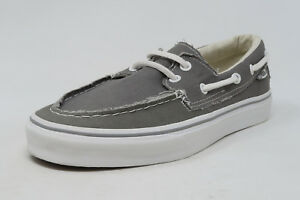 62f9800f0c74 VANS Zapato del Barco Pewter White Slip On Sneaker Flat Sole Adult ...