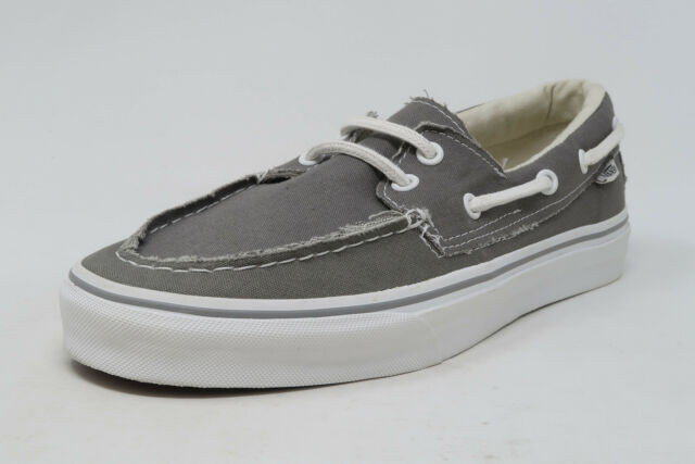 VANS Zapato del Barco Pewter White Slip On Sneaker Flat Sole Adult Men Shoes