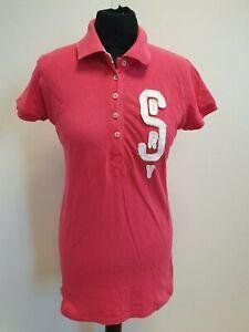N937-Rosa-para-Mujer-de-manga-corta-Polo-camiseta-L-12-Reino-Unido