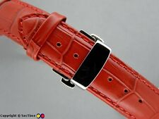 Leather watch strap Croco Butterfly Clasp Red/Red 18mm