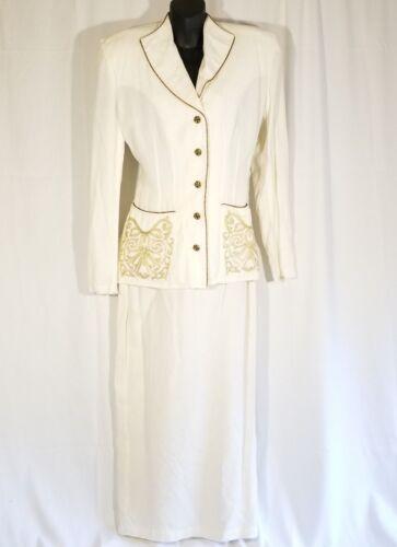 Vtg Rhonda Harness Women Sz 8 White Skirt Suit Bla