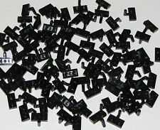 Lego Lot of 100 New Black Plates Modified 1 x 2 w/ Arm Up Horizontal Arm Length