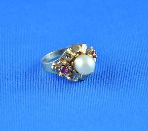 Huebscher-Damen-Ring-Goldring-750-18-kt-5-43-gr-PERLE-RUBINE-Ein-Hingucker