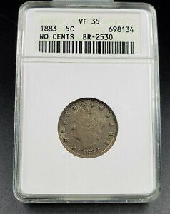 1883-No-Cents-Liberty-V-Nickel-Variety-Coin-ANACS-VF35-RPD-005-Breen-2530