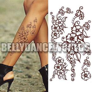 Brown Henna Style Floral Flower Temporary Tattoo Arm Leg Body