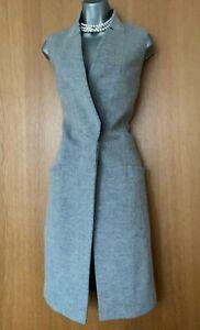 Karen-Millen-UK-6-Grey-Black-Wool-Waistcoat-Jacket-Coat-Bloggers-Favorite-EU-34