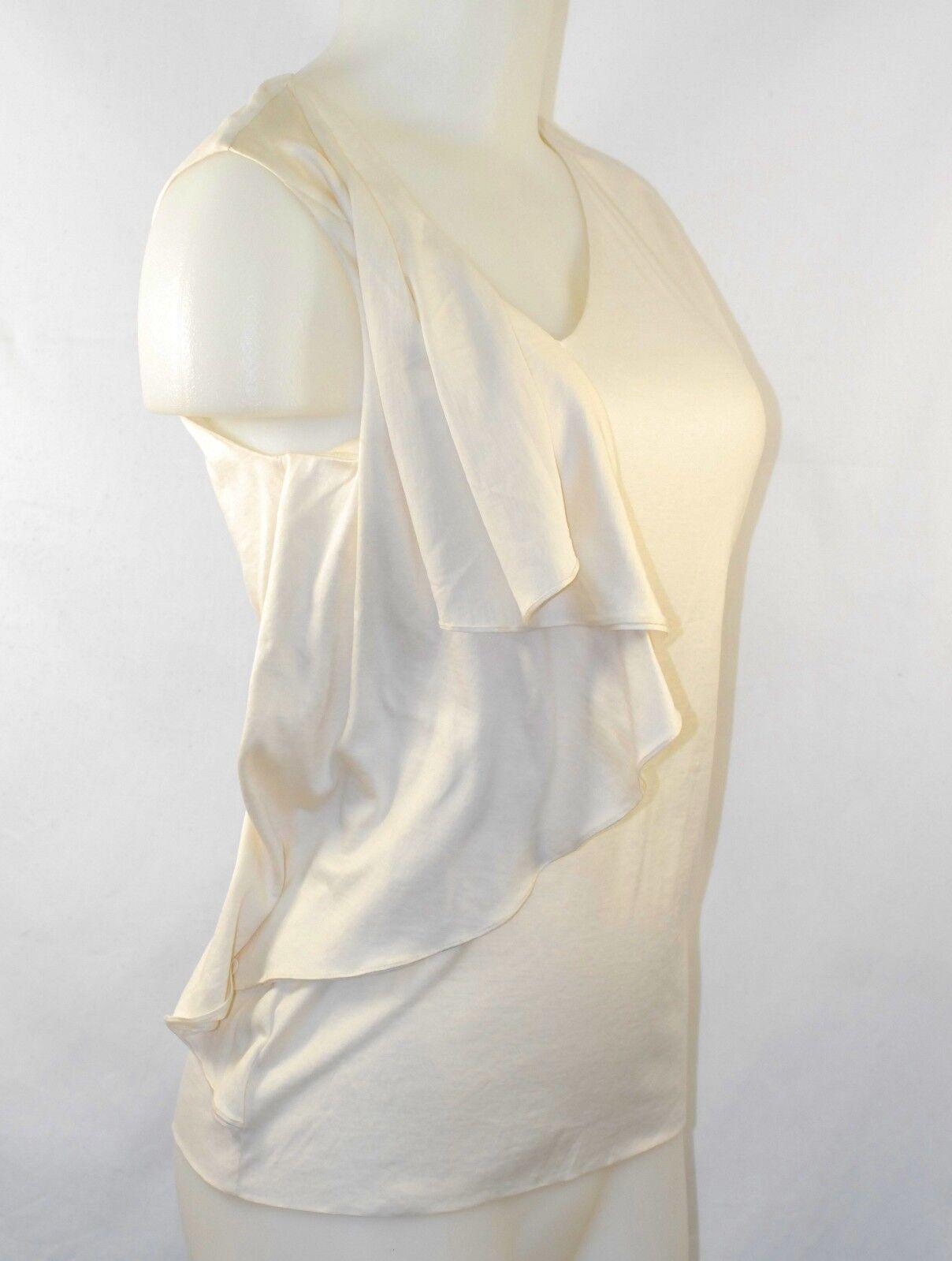 NWT Ralph Lauren Blau Label Größe S Weiß Shirt Blouse Silk Cotton V-Neck
