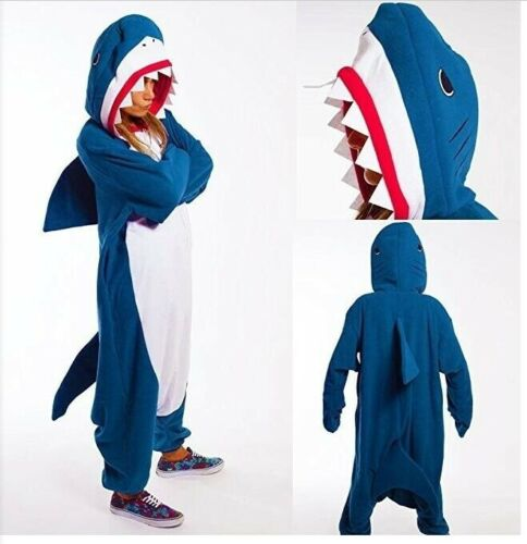 Unisex Adult Kids Sleepwear Shark Pajamas Kigurumi Cosplay Costume Fancy Dresses