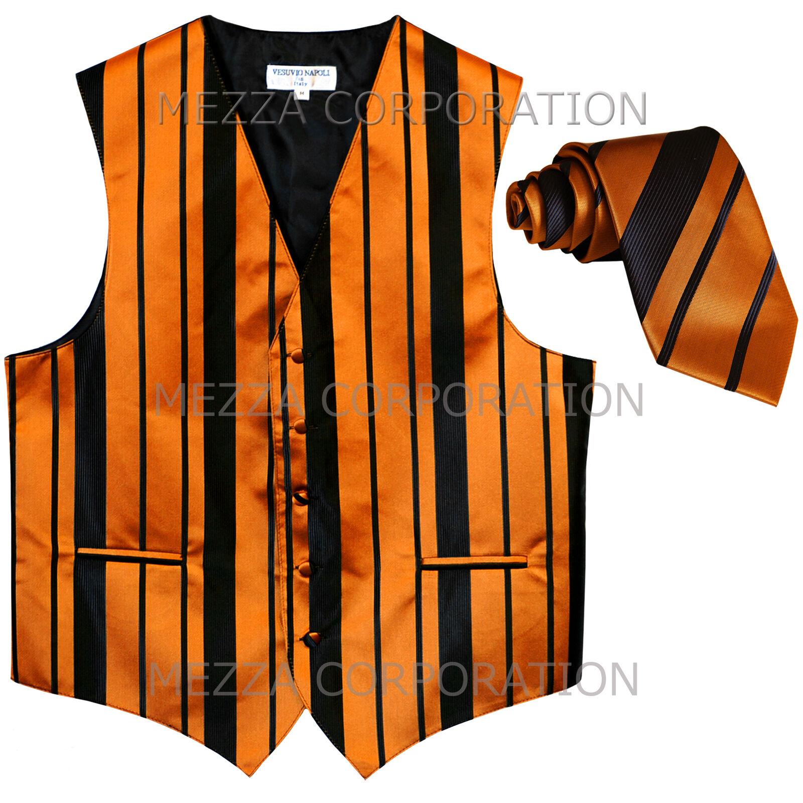 New Men's Tuxedo Vest Waistcoat Stripes Necktie prom wedding party Black Gold