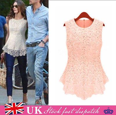 New Womens Ladies Sleeveless Embroidery Lace Tops Chiffon Shirt Blouse Size 6-20