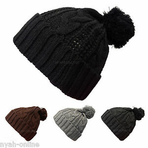 NEW KNITTED BOBBLE HAT  BLACK  PLAIN WARM BEANIE WOOLY WINTER CABLE ... febb4b5bef3