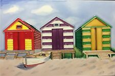 Beach hand painted ceramic art tile 8 x 12 inches with back and hooks