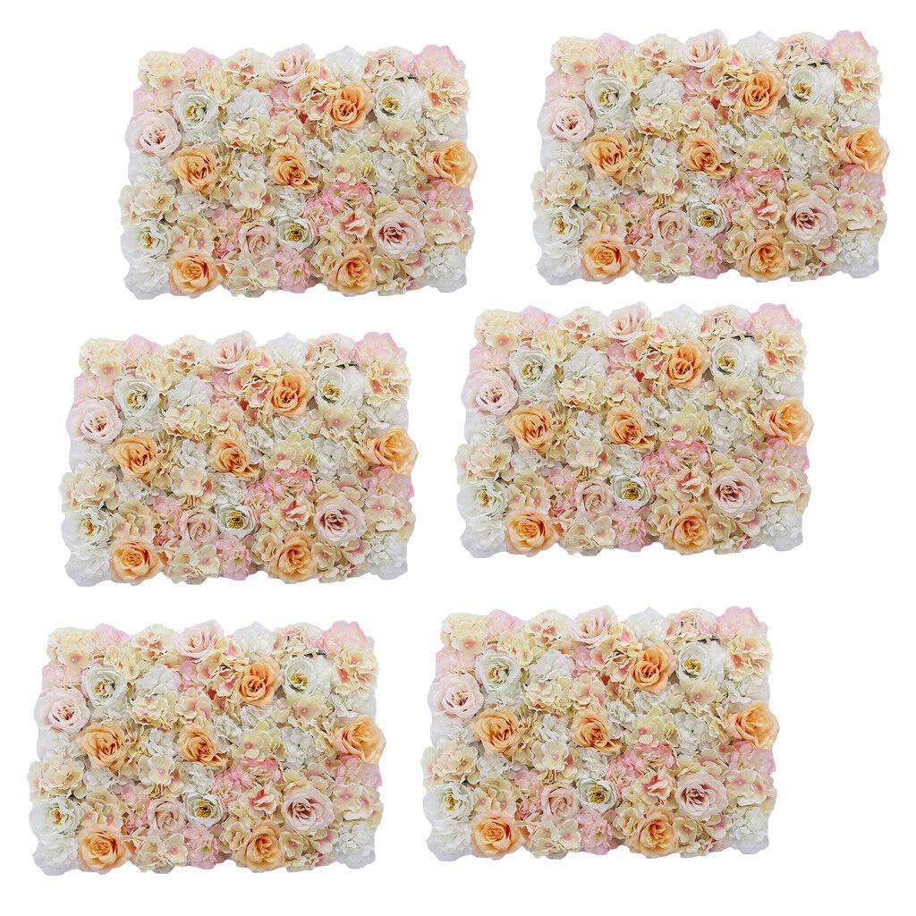 6pcs fleur artificielle Mur Panneau Home Shop Mariage Floral Décoration Champagne