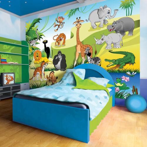 Malla fotomurales Fotomural de niños papel pintado jungla animales África 3fx11411v
