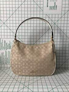 792e730907 Image is loading Coach-29959-Outline-Zip-Shoulder-bag-Signature-Jacquard-