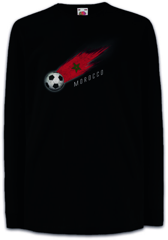 Morocco Football Comet I Kids Long Sleeve T-shirt Moroccan Soccer Flag World