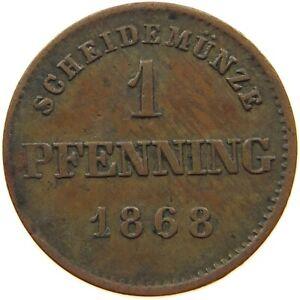 GERMAN STATES 1 PFENNIG 1868 BAYERN #a23 603