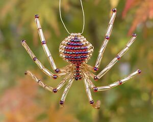 image is loading gold amp garnet beaded spider ornament with legend - The Christmas Spider