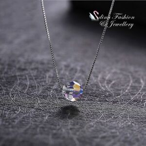 925-Sterling-Silver-Made-With-Swarovski-Element-Colourful-Single-Bead-Necklace