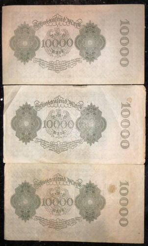 1922 German 10000 Mark Circulated Reichsbanknote Vampire Note  ***Lot of 3***