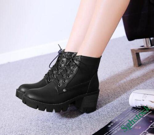 Retro Winter Women/'s Lace Up Ankle Boots Faux Leather Platform Shoes Plus Size^^
