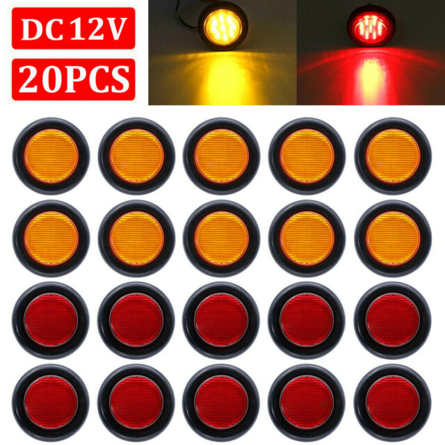 20x 2 U0026quot  Inch Round Red    Amber Side Marker Clearance Led